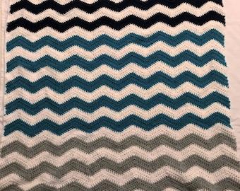 Crocheted Chevron Ripple Afghan