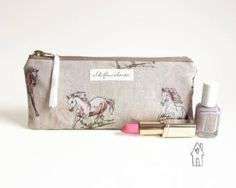 Horse Pencil Case, Small Makeup Bag, Pencil Pouch, Pony Cosmetics Bag, Purse Organizer, Mini Make Up Bag, Zipper Pouch, Old Flour House