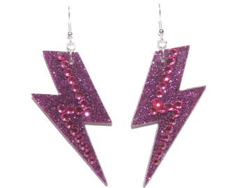 Pink Glitter Lightning Bolt Earrings with Swarovski Rhinestones; Handcrafted, Statement, Disco & Clubkid; David Bowie and Ziggy inspired;