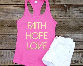 Faith Hope Love Tank Tops for Women Faith Hope and Love Barre Tank Tops Christian Tank Tops Christian Shirts Workout Tank Tops Running Tanks