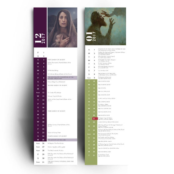 PRE-ORDER!! 14-Month Liturgical Calendar featuring fine art, liturgical seasons, feast days, daily readings, gift for him, gift for her