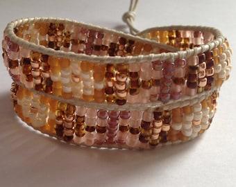 Pink and Rose Gold Double Wrap Bracelet on White Leather, White Leather Wrap Bracelet, Rose Gold and White Beaded Bracelet