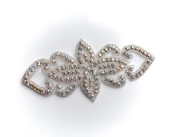Sparkly Silver Flower Heart AB Rhinestone Jewel Iron-on Applique