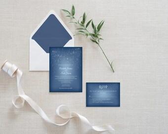 Falling Snow Wedding Invitation Set