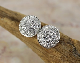 Retro Swarovski Round Crystal stud earrings, signed / vintage earrings / estate jewelry / gifs for her/ bridal jewelry/ prom jewelry