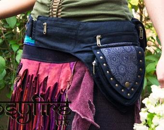 GEOMETRIC Festival Utility Belt, Festival Belt, BLACK, Hippy Fanny Pack, Boho Pocket Belt, Psy Belt, Hippie Hip Bag, Travel Belt, Psytrance