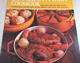 Vintage Betty Crocker Cookbook - Dinner in a Dish - 1970s Cookbook - Vintage Kitchen - Recipe Collection - Spiral Cookbook - 1974 Edition