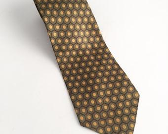 Vintage Necktie, Vintage Silk Necktie, Vintage Orange Green Necktie, Hexagon Tie, 70s Tie