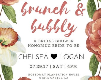 Brunch and Bubbly Bridal Shower Invitation - Fully Customizable
