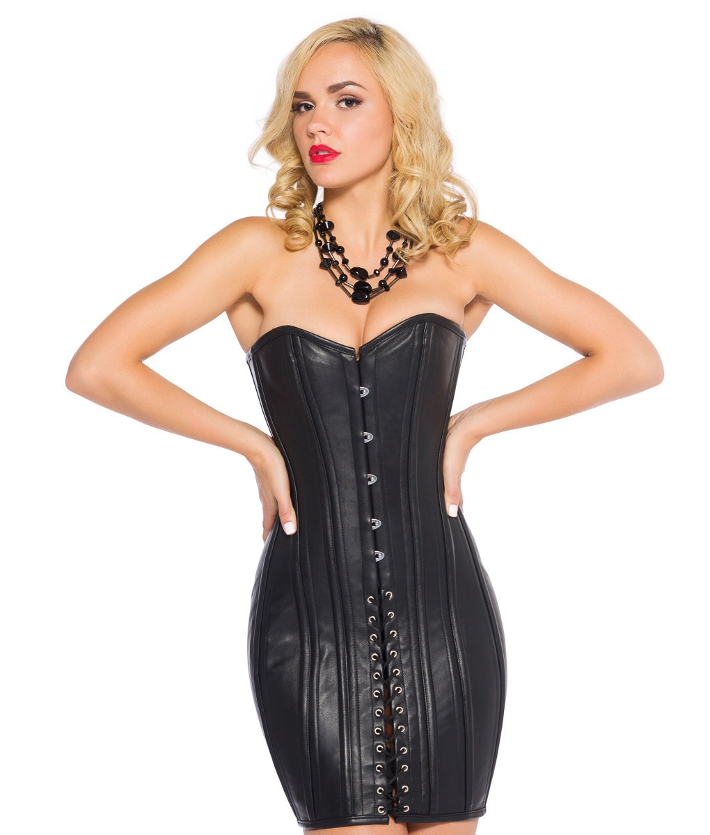 Leather corset silk maxi dress