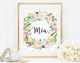 Baby Girl Name Print, Mia Name, Floral Name Print, Nursery Name Decor, Custom Name, Kidds Room Decor, Baby Mia Sign, Floral Custom Print