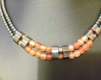 vintage carnelian and hematite double strand necklace with box clasp