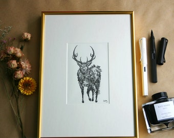 The Stag - Framed Original Inkwork by @uniquelab
