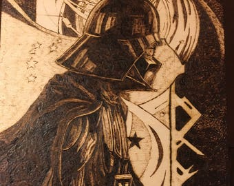 Darth Vader Nouveau Sith Wooden Box - Wood burning Pyrography - Star Wars Tribute - Free Shipping - one of a kind hand crafted gift.