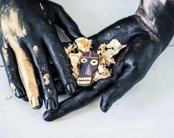 Wooden Brooch, Basquiat Brooch, Laser Cut Skull, Black Brooch, Statement Brooch, Tribal Jewelry, Laser Cut Brooch, American Jewelry