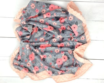 Baby minky blanket, flower blanket, blush pink gray roses blanket, floral blanket, throw blanket, baby shower gift, birth gift, mini peony