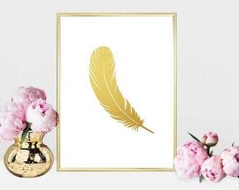 Printable art Digital Prints Home decor gold feather