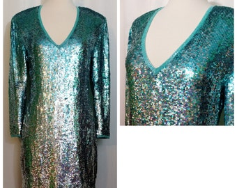 Riazee Nights Naeem Khan Teal Ombre Sequined Dress