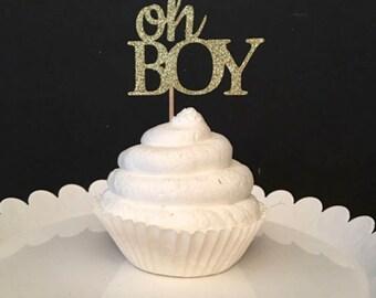 Set of 12, Oh Boy Cupcake Topper, baby boy cupcake topper, baby boy shower cupcake topper