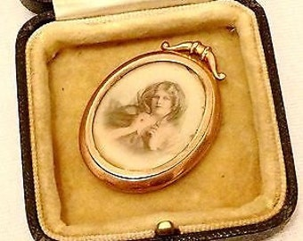 Antique Victorian 9ct Gold Double Photo Pendant/Portable Photo Frame - In original box