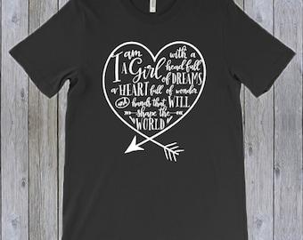 Girl Power Shirt, Crew neck, I am a Girl, Shirt with Arrow, Shirt with Heart, Custom T-shirt, Empowering Shirt, Inspiring Shirt
