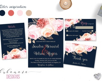 Peach Navy Wedding Invitation Suite Spring Floral Pink Floral Wedding Invite Bohemian Wedding Set Coral Summer Digital Invite - WS039