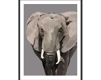 Elephant Print. Elephant Art. Elephant Painting. Elephant Gift.  Animal Art. Illustrative Art.