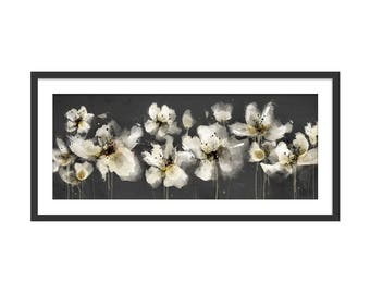 Floral Art Print. Flower Print. Flower Painting. Floral Painting. Monochrome Flowers. Poppy Print. Wall Art. Wall Decor