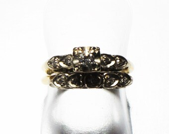 Vintage, 14K yellow gold engagement/wedding set (diamonds .33 tcw) - size 6