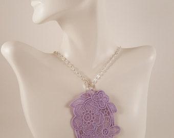 Purple lace necklace Lace jewelry Lilac necklace Bib Necklace Statement necklace Bridesmaids gift Large necklace Bib lace jewelry Necklaces