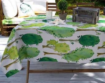 Family Tree Kitchen Table Tablecloth / Patio Outdoor Tablecloth / Thick  Rectangle Tablecloth / Cotton Linen