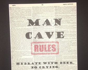 """Man Cave Rules 11"""" X 14"""" Matted Print Buy 1 Matted Print Get 1 Reg. Print Free!"""