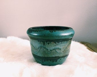 Vintage Blue-Green + Dark Gray Pottery Planter / Catchall / Succulent Pot
