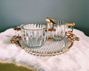 Vintage Hollywood Regency Faux-Bamboo Glass Three-Piece Cream + Sugar Set w/ Gold Leaf Detail