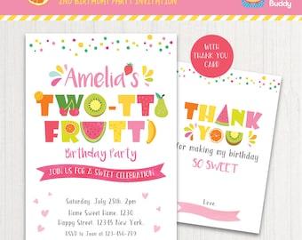 TWO-tti Frutti Party Invitation Printable | Girls 2nd Birthday | Thank You Card | Sweet Celebration | PERSONALIZED Invite Digital PDF
