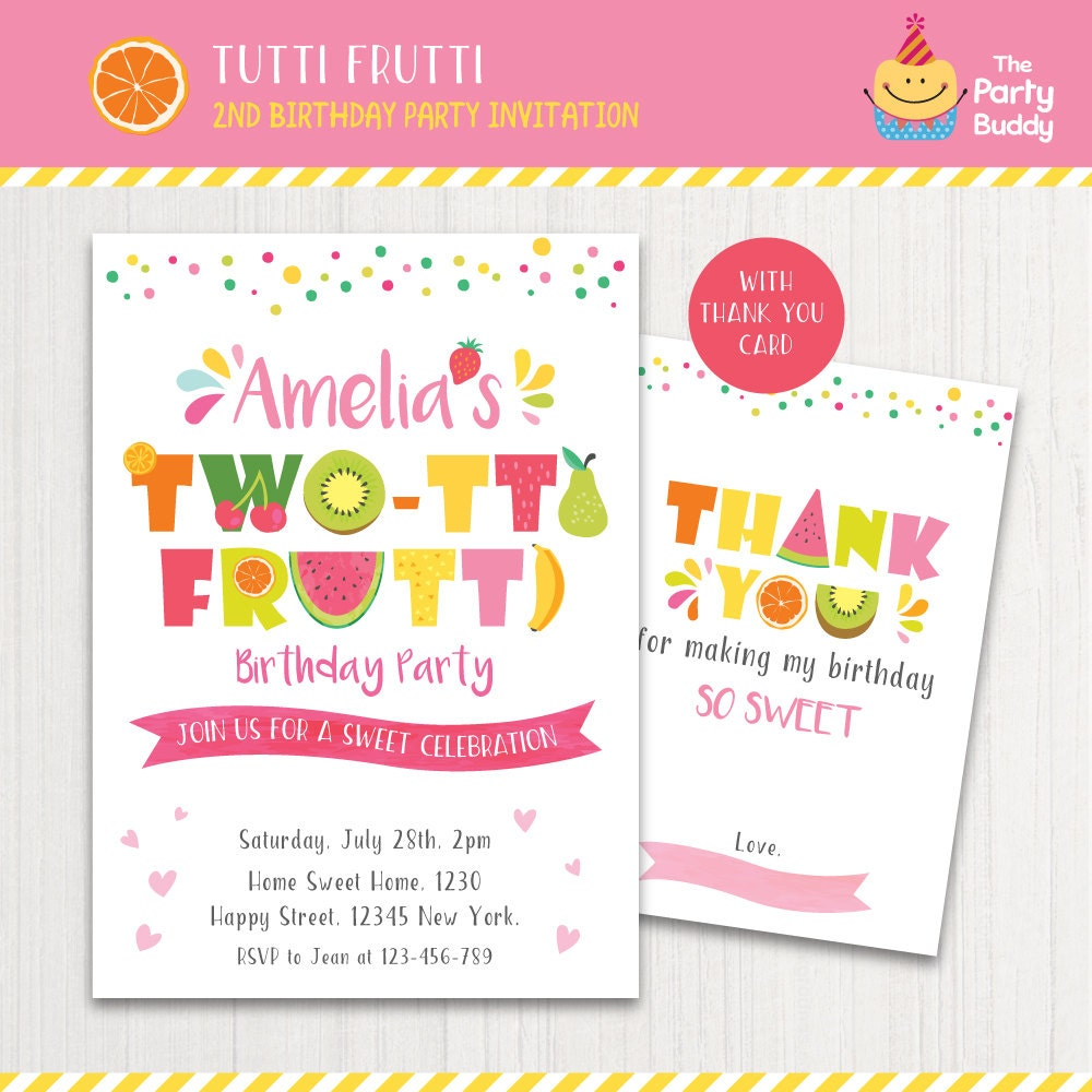 Birthday Quotes For Invitations: TWO-tti Frutti Party Invitation Printable Girls 2nd Birthday