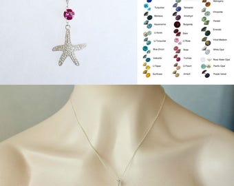 Choose Your Colour -- Starfish Crystal Necklace With Accent Colour, Bridal, Destination or Beach Wedding (Sparkle-2652)