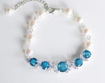 Handmade Teal Cubic Zirconia CZ and Swarovski Pearl Bridal Bracelet, Bridal, Wedding (Pearl-739)