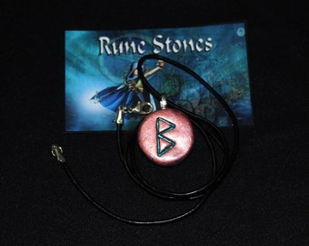 Berkana Rune Stone Talisman Amulet And Leather Necklace