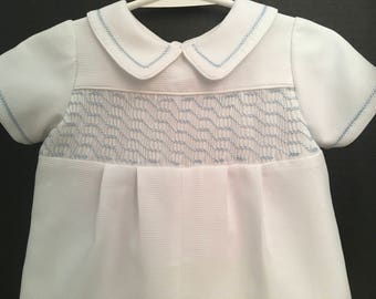 Baby Boys White Waffle Pique Romper Sizes Newborn, 3mo. and 6 Mo. Fully Lined