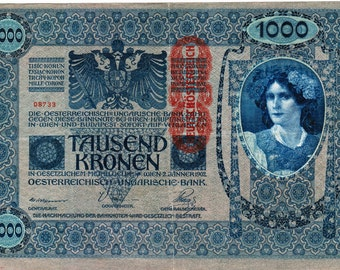 "Beautiful Bank Notes Dated 1902, Hungary 20 Kronon, Very Large, 190 mm x 125 mm, 7.5"" x 5"""