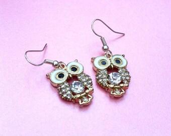 Owl gemstone earrings, owl jewellery, bird drop earrings, woodland dangle earrings, owl lover gift, animal jewellery, nature earrings