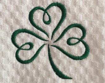 SHAMROCK Swirl Embroidered Kitchen Towel