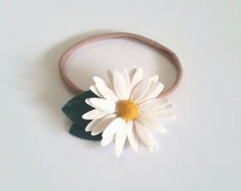 Felt Flower Daisy Headband, Felt Flower Hair Clip, CUSTOM COLORS or Maker's Choice