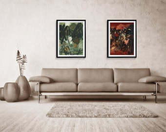 Abstract Print Set of two, Large Print Art, Abstract, Giclee Print, Large Abstract Print, home decor, wall print, ZDQ1973