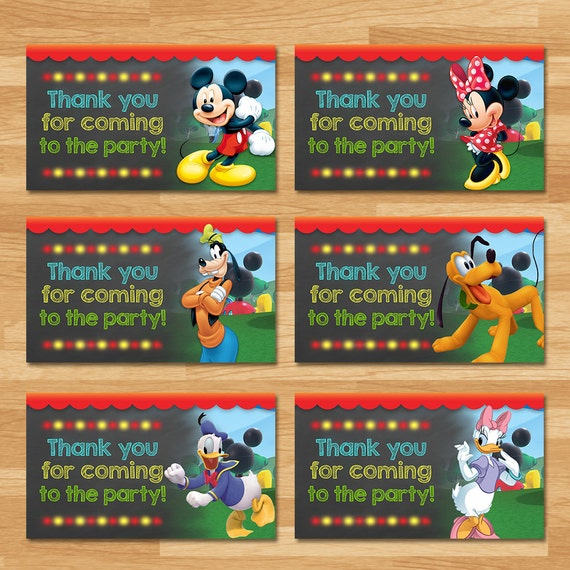 Mickey Mouse Clubhouse Party Tags - Chalkboard - Mickey Mouse Favor Tags - Mickey Mouse Thank You Tags - Mickey Mouse Printables Boy Party