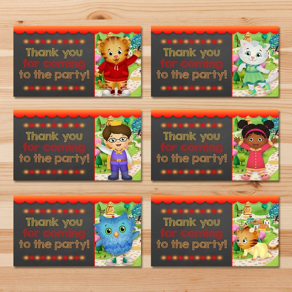 Daniel Tiger Birthday Party Tags - Red Chalkboard - Boy Daniel Tiger Favor Tags - Daniel Tiger Birthday Party - Daniel Tiger Goody Bag Tag