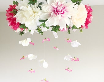 Flower Mobile, Floral Mobile, Crib Mobile, Baby Mobile, Baby Girl Mobile, Floral Nursery Mobile, Floral Chandelier, Flower Chandelier