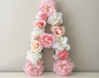 "SALE! LARGE Floral Letter, 19"" 24"", Flower Letter, Floral Nursery, Nursery Wall Art, Pink Floral Wall, Custom Letter, Floral Wall Hanging"
