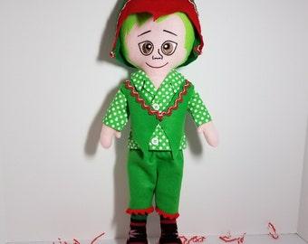 Elf boy, elf doll, felt elf, cloth elf, fabric elf, Christmas elf, elf decoration, elf ornament, stuffed elf, elf toy, by frog pond toys